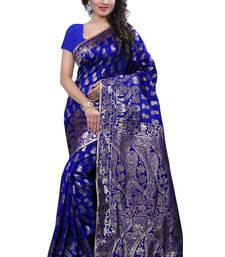 Buy Blue printed banarasi saree with blouse banarasi-saree online