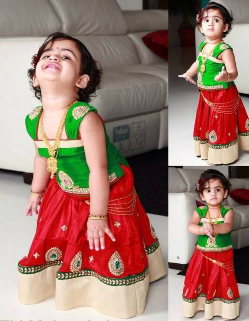 buy green red embroidery cambric cotton flared kids anarkali lehenga choli with stitched blouse kids lehenga - Small Kids Images