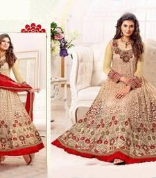 Buy Cream embroidered cotton silk and net semi stitched salwar with dupatta anarkali-salwar-kameez online