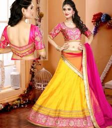 Buy Yellow embroidered silk unstitched bridal-lehengas bridal-lehenga online