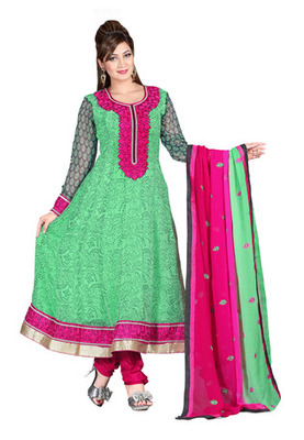Fabdeal Sea Green Colored Poly Georgette Semi-Stitched Salwar Suit