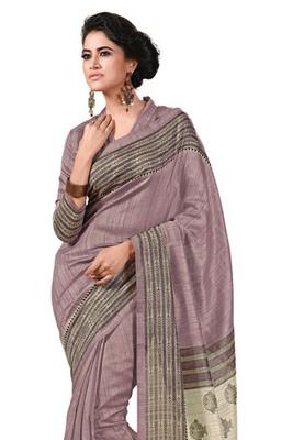 Fabdeal Lavender Colored Chappa Silk Printed Saree