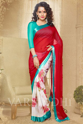 Off White and Red Georgette Printed Saree