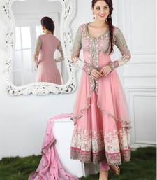 Buy Light pink net embroidered semi stitched salwar with dupatta black-friday-deal-sale online