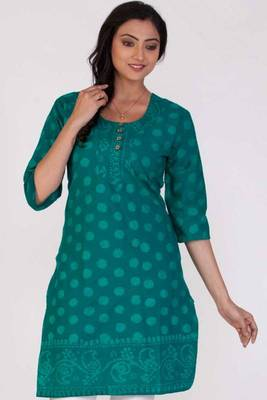 Teal Blue and Robin-egg Blue Cotton Printed Casual and Party Kurti