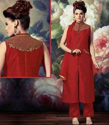 Buy Red art silk embroidered semi stitched salwar with dupatta salwars-and-churidar online
