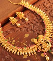 Buy BEAUTIFUL DESIGNER LAKSHMI NECKLACE SET-DJ05403 south-indian-jewellery online