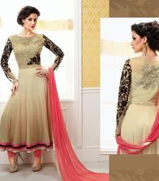 Buy light pink and cream georgette embroidered semi stitiched salwar with dupatta salwar-kameez-below-2000 online