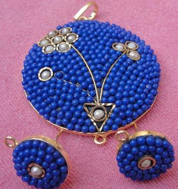 Blue white Takkar work pendent set with earrings