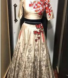 Buy Cream embroidered satin unstitched ghagra choli ghagra-choli online