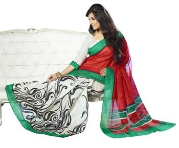Triveni Graceful Vine Motif Bhagalpuri Silk Indian Traditional Saree TSVF10045
