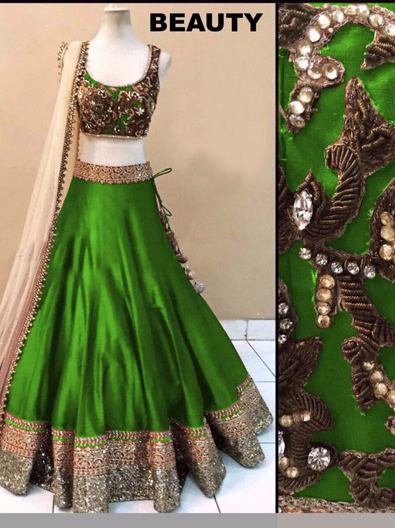 Buy Designer Green Embroidered Jacquard Fancy Lehenga With