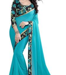 Buy Blue plain georgette saree with blouse Woman online