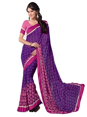 Triveni Evoking Drops Patterned Faux Georgette Indian Ethnic Designed Saree TSVF9941
