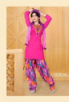 NeelFab Pink cotton stitched  Salwar Suit:1040-A