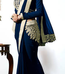 Buy Navi blue embroidered georgette saree with blouse georgette-saree online