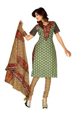 Riti Riwaz green - beige cotton printed dress material with dupatta RM1018
