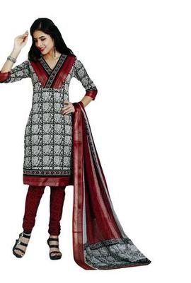 Salwar Studio White & Red Cotton unstitched churidar kameez with dupatta AR-1210