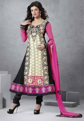 Black color designer semi stitched embroidered anarkali suit