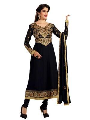 Riti Riwaz black georgette semi stitched anarkali suit with dupatta AF4107