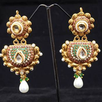 TWO LEVELLED POLKI EARRINGS WITH PEARL DROP