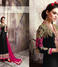 Buy Black and pink georgtte embroidered semi stitched salwar with dupatta semi-stitched-salwar-suit online