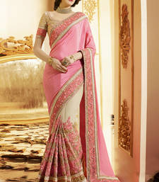 Buy Light hot Pink embriodered Satin and super Net Saree with blouse eid-saree online