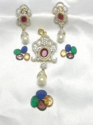 Shining Pearl & Sensuous CZ Ruby - 5 Colours