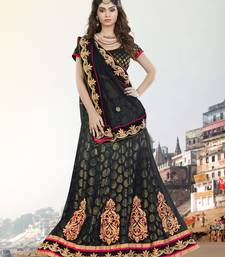 Buy black embroidered net unstitched lehenga bridal-lehenga online