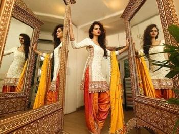 cream embroidred cotton semi stitched salwar with dupatta