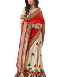 Buy Red plain net saree with blouse net-saree online