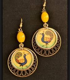 Buy Yellow metallic danglers drops navratri-jewellery online