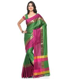 Buy Green printed cotton silk saree with blouse banarasi-silk-saree online