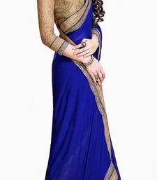 Buy BLUE COLOR+CHIFFON FABRIC+PARTYWEAR STYLE+WITH UNSTITCHED RAW SILK BLOUSE PIECE+RACIEAL NET SLEEVES party-wear-saree online