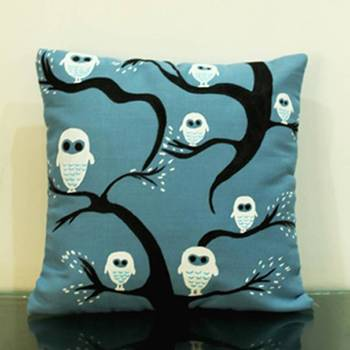 Owls on the Tree Cushion Cover