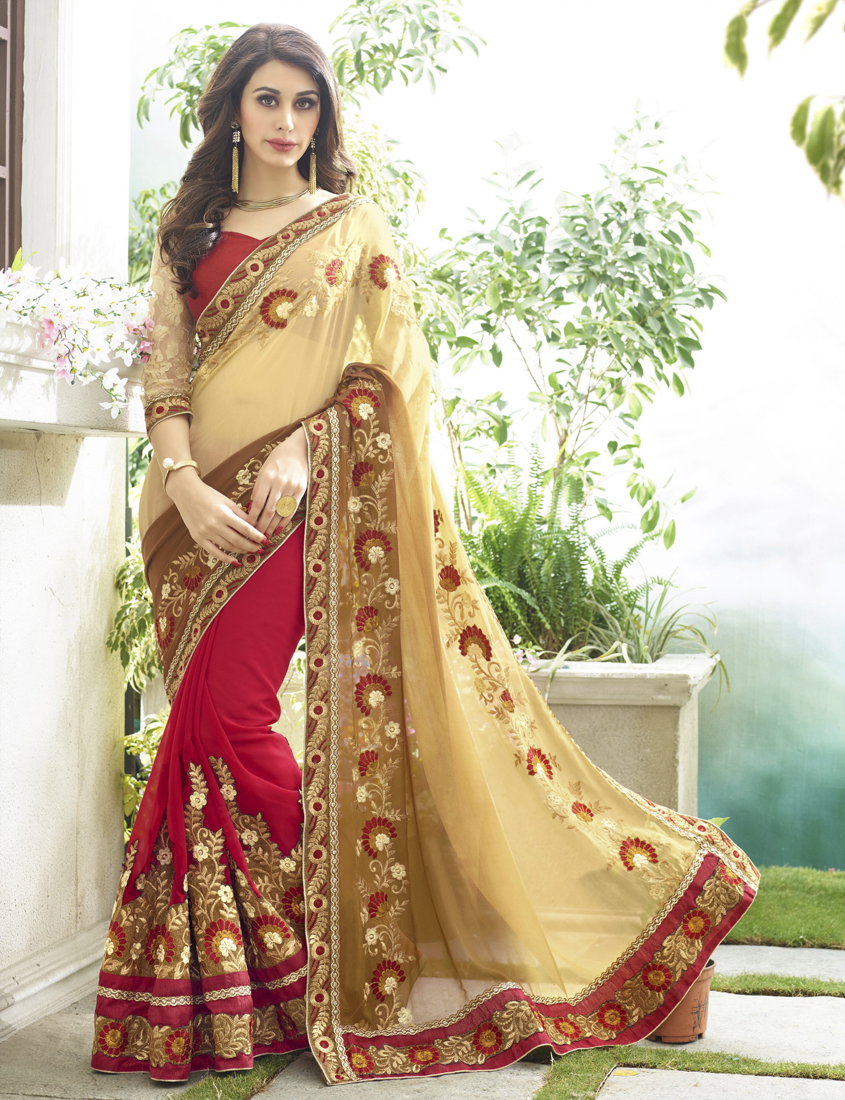 Beige Embroidered Georgette Saree With Blouse Wedding Online