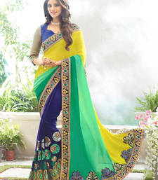 Buy Yellow, Green and Navy Blue embroidered georgette saree with blouse party-wear-saree online