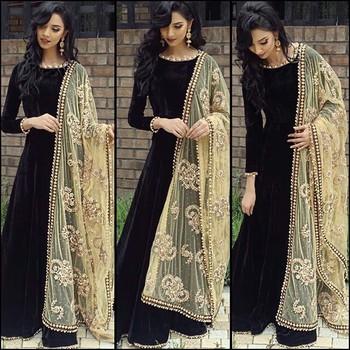 black embroidered dupion silk semi stitched salwar with dupatta