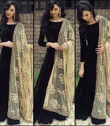 Buy black embroidered dupion silk semi stitched salwar with dupatta anarkali-salwar-kameez online
