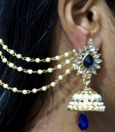 Buy Dark Blue Drop Jhumka With Pearl Ear Chain Earring jhumka online