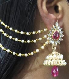 Buy Dark Pink Drop Jhumka With Pearl Ear Chain Earring jhumka online