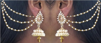 Yellow Drop Jhumka With Pearl Ear Chain Earring