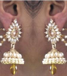 Buy Yellow Drop Jhumka With Pearl Ear Chain Earring jhumka online