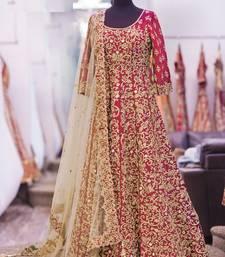 Buy Red embroidered art silk semistitched salwar with dupatta anarkali-salwar-kameez online