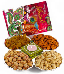 Buy Dryfruit hamper with diwali card and diya diwali-gift online
