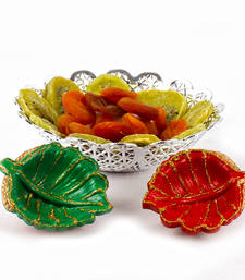 Buy Diwali earthen diya with designer bowl of dry kiwi and dry apricot diwali-dry-fruit online