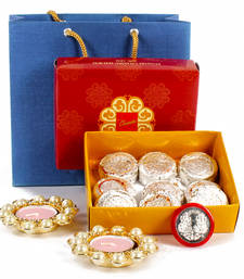 Buy Pearl metal diya with sweet and silver plated laxmi ganesha coin diwali-gift online
