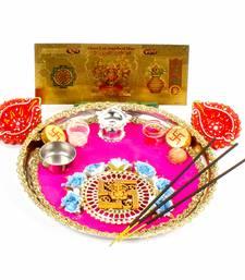 Buy Swastika diwali thali and earthen diya with gold plated lakshmi note diwali-puja-thalis online