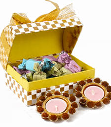 Buy Traditional rudraksha diyas with assorted chocolates gift box diwali-gift online