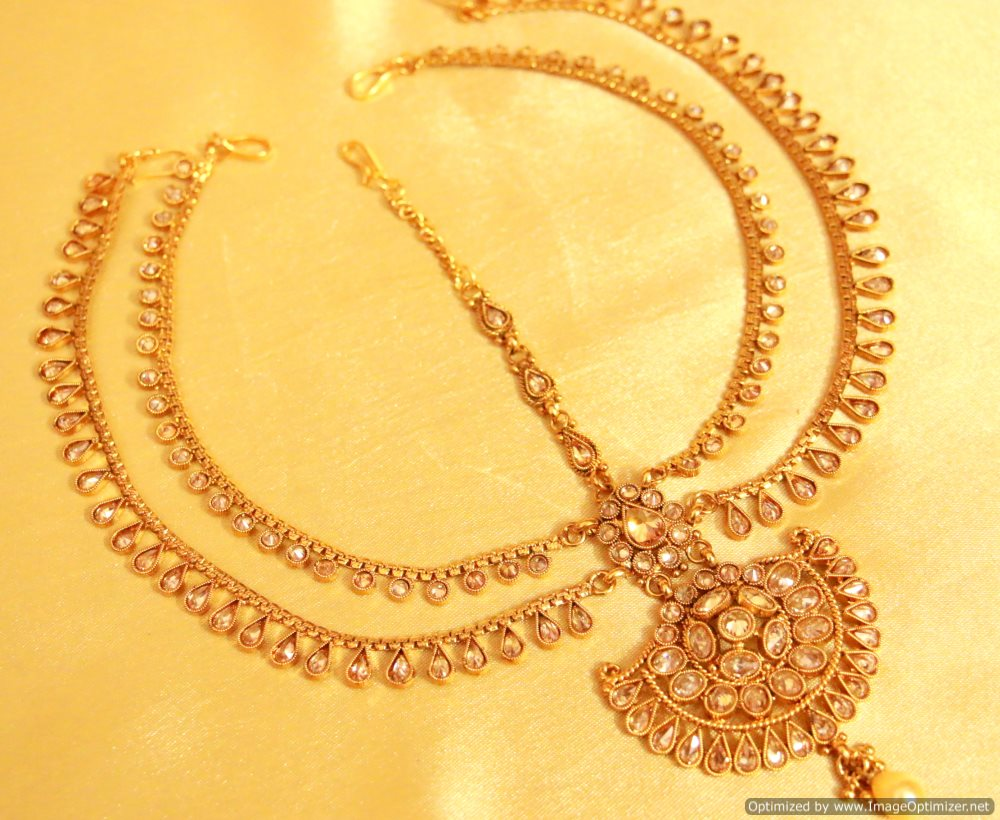 Golden maang tikka designs bridal jewellery bridal maang - Golden Maang Tikka Designs Bridal Jewellery Bridal Maang 21